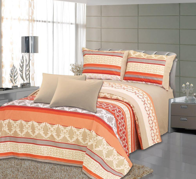 Royal Bamboo 3500 Egyptian Quality Deep Pocket 6-Piece Sheet Set - Orange Royal Print - {product_type] | Grover Essentials
