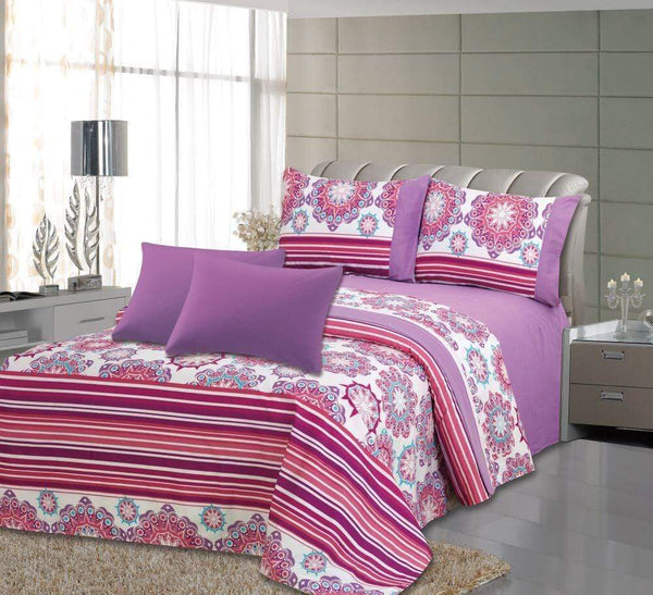 Royal Bamboo 3500 Egyptian Quality Deep Pocket 6-Piece Sheet Set - Purple Floral Print - {product_type] | Grover Essentials