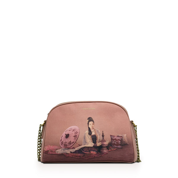 Kalayar Dusty Rose Chain Cross Bag