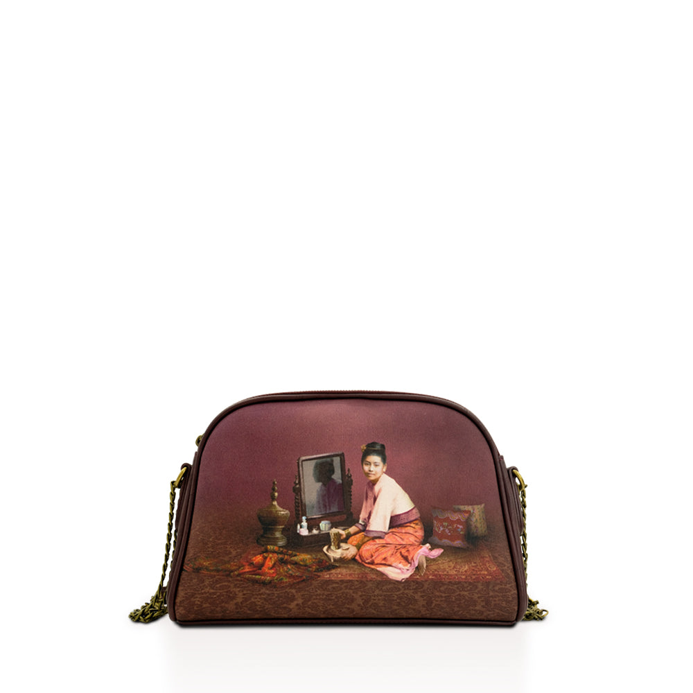 Thanakha Burgundy Chain Cross Bag