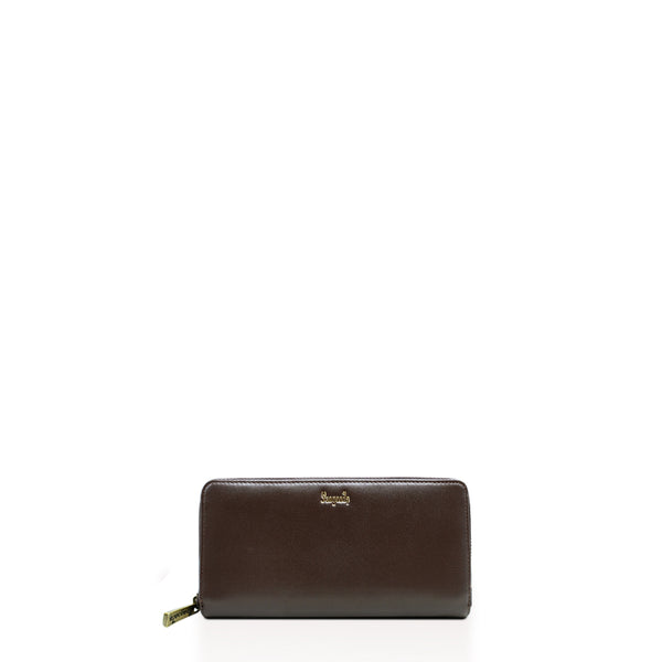 A Myo Thar Brown Zip Around Wallet