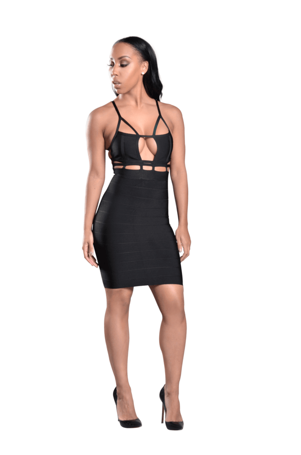 Riley' Cut Out Spaghetti Strap Bandage Dress