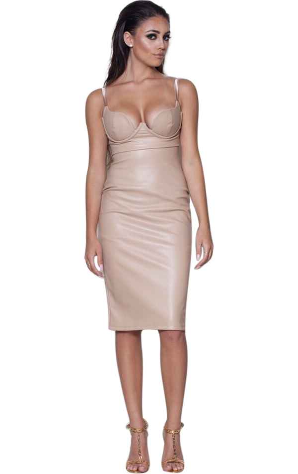 Brigette' Nude Vegan Leather Bustier Bodycon