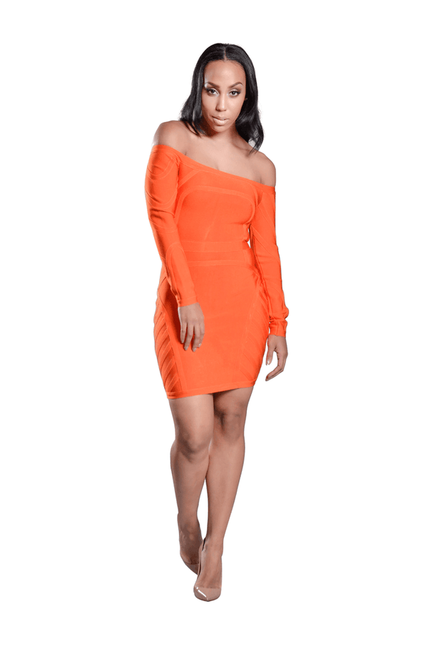 Mia' Off Shoulder Long Sleeve Bandage Dress