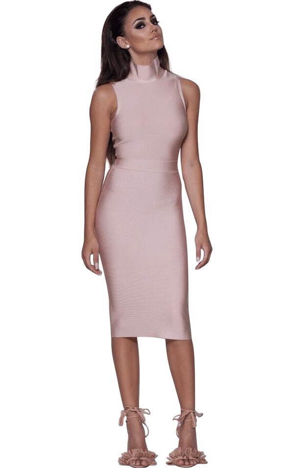 Rosa' Pink High Neck Sleeveless Bandage Dress