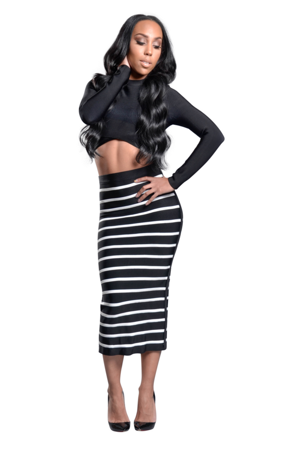 Charlie' Black Two Piece Striped Bandage Dress
