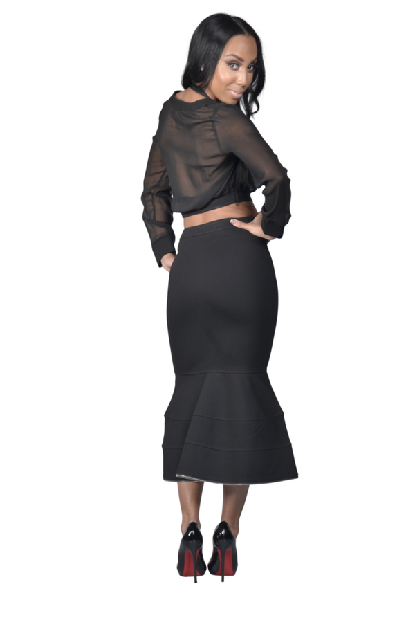 Ava' Black Three Piece Mesh Top And Skirt Set