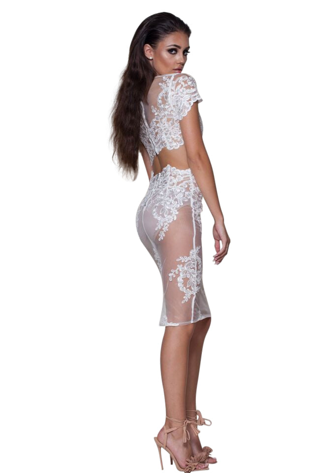 Gwen' White Mesh And Lace 2 Piece Dress