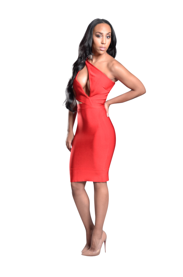 JASMEEN RED CUT OUT SLEEVELESS BANDAGE DRESS
