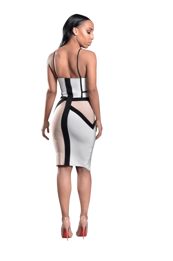 TALIA COLOR BLOCK ASYMMETRICAL BANDAGE DRESS