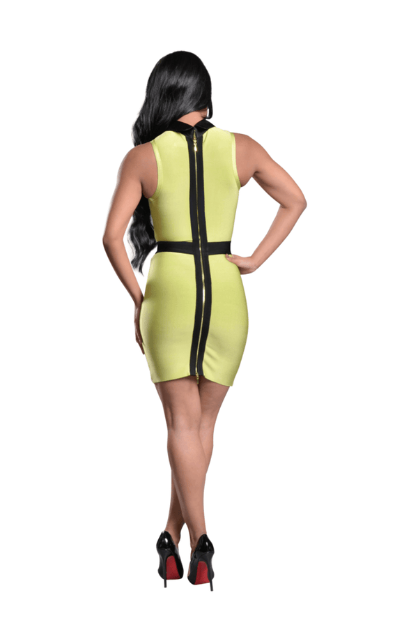 Stacy' Neon Cut Out Satin Bandage Dress