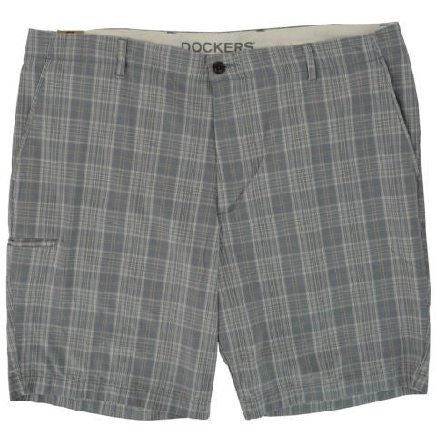 Dockers Men'S Loose Fit Cargo Shorts 42 Grey Plaid