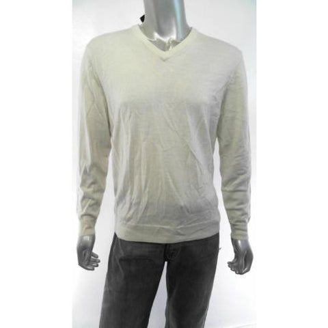Club Room  Mens Knit V-Neck Sweater Sz M Natural Solid Auth Designer Adult U
