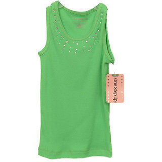 One Step Up Girls Rhinestone Tank Baby Shirts Garden Green Size 4