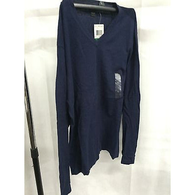 Alfani Blue Casual V-Neck Top Sweater, Size Large