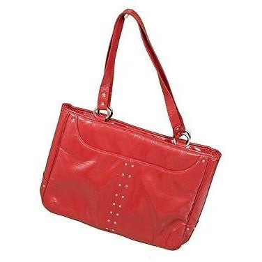 Generic Faux Patent Laptop Notebook Tote Bag Red Size M