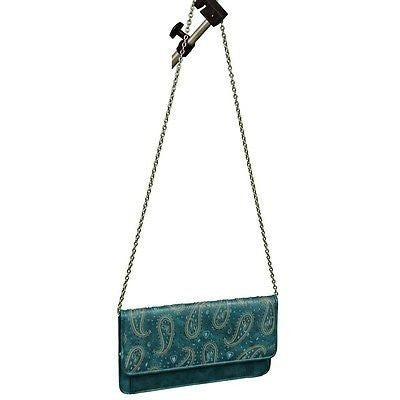 Generic Envelope Convertible Clutch Bag Womens Purses Teal Blue Size M ~
