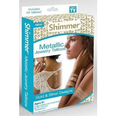 Shimmer Metallic Jewelry Tattoos Gold & Silver Designs Ages 8+ As Seen On TV - Oh!Dreamy™ Online Store