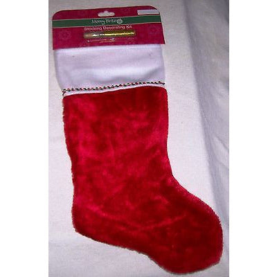19 Inch Tall Red And White Christmas Stocking With Glitter Decorator Kit