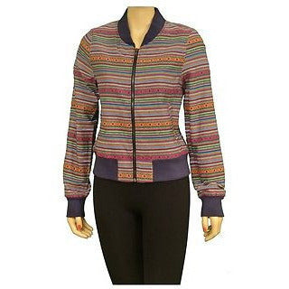 Audrey 3+1 Jh132 Zippered Front L/S Striped Womens Jackets Multi Size S ~