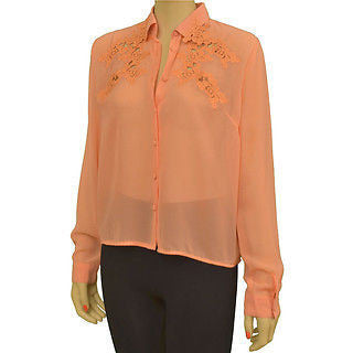 Cotton Candy Ct3232 Sheer W/Lace Design L/S Womens Shirts Peach Size L ~