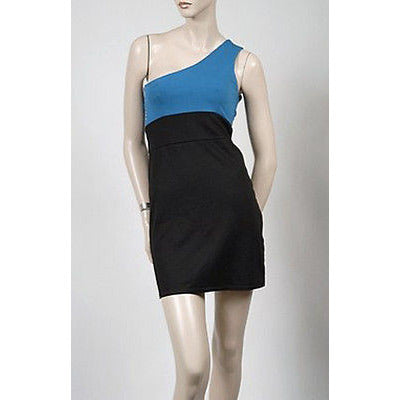 4 Laces One Shoulder Womens Dress Black And Blue S