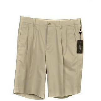Carnoustie Hagen 5364 Solid Pleat Front Mens Shorts Stone Khaki Size 32