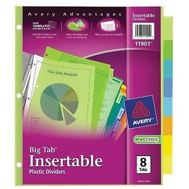 Avery  Big Tab Insertable Plastic Dividers,  8-Tabs, 1 Set (11901) - Oh!Dreamy™ Online Store