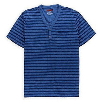 Alfani Mens Slim Fit Henley Shirt Blue-arctic L