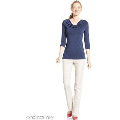 Charter Club Three-Quarter-Sleeve Cowl-Neck Intrepid Blue Ps - Oh!Dreamy™ Online Store