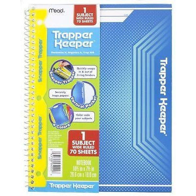 Mead Trapper Keeper Snapper Notebook, 1 Subject Wide Ruled 70 Sheets, (Blue)