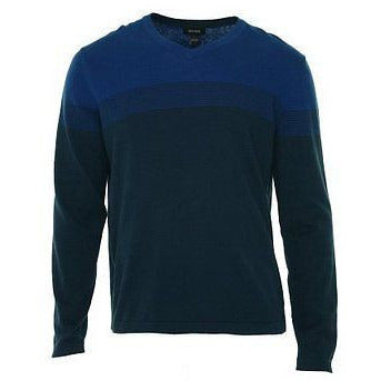 Alfani Men'S V-Neck Striped Pullover Shirt River Blue Combo S   $70