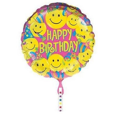 Anagram International Hx Birthday Smiles Foil Balloon, Multicolor