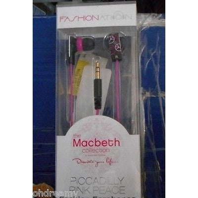 Fashionation Pink Peace Earphones Zebra Black