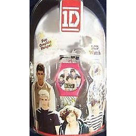 1D One Direction Lcd Watch (Pink With White Strap--Fun Graphics)