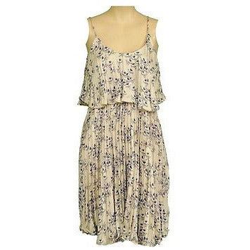 Audrey 3+1 Dh8181 Bird Pleated Sleeveless Womens Dresses Beige Size S ~