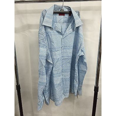Alfani Blue Slim Fit Casual Button Down Shirt, Size Xxl