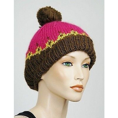1717 Olive Chunky Cable Knit Pom Pom Beanie Womens Hats Multi O/S ~