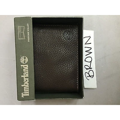 Timberland Slim Trifold Leather Wallet Brown