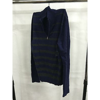 Alfani Blue Zipper Striped Simple Top Sweater, Size Small