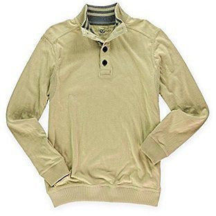 Club Room Mens Hudson Tan Ls Knits Cotton Henley Sweater Sweatshirt L
