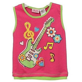 Young Hearts Girls Guitar Tank Top Childrens Shirts Pink Size 6