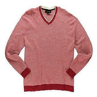 Tasso Elba Men'S V-Neck Pullover Sweater Berry Heather Combo Xl   Msrp $6