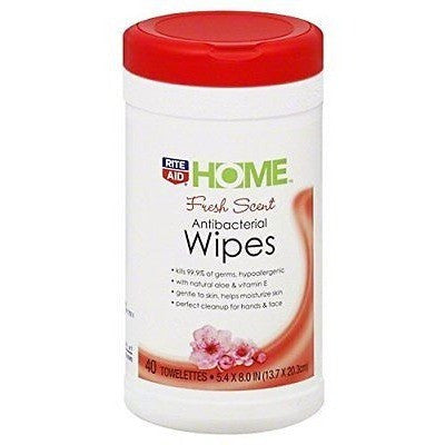 Rite Aid Home Wipes, Antibacterial, Fresh Scent, 40 Towelettes