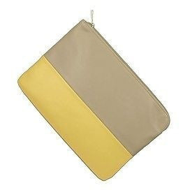 High Fashion Oversize Clutch Womens Purses Taupe Yellow Size M ~