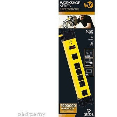 Globe Electric 98113 Workshop Series 6 Outlet Metal Power Strip