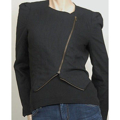 Lush Casual Slanted Zipper Womens Jackets Black Size S ~