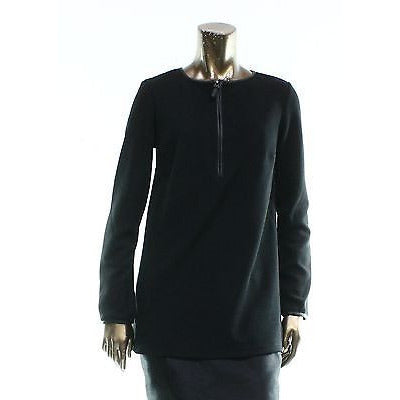 Studio M  Deep Black Striped Women'S Small S 1/2 Zippered Sweater $78 - Oh!Dreamy™ Online Store  - 1
