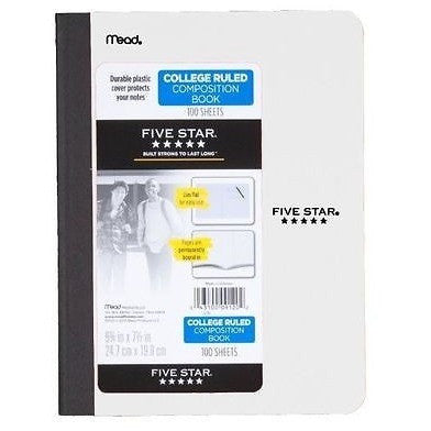 "Five Star Poly Composition Book, Pockets, 100 CT, 9-3/4"" X 71/2"", Assorted, Color Selected For You May Vary (09276)"