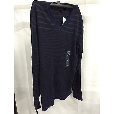Alfani Black Sweater, Engineered Striped V-Neck Sweater Small